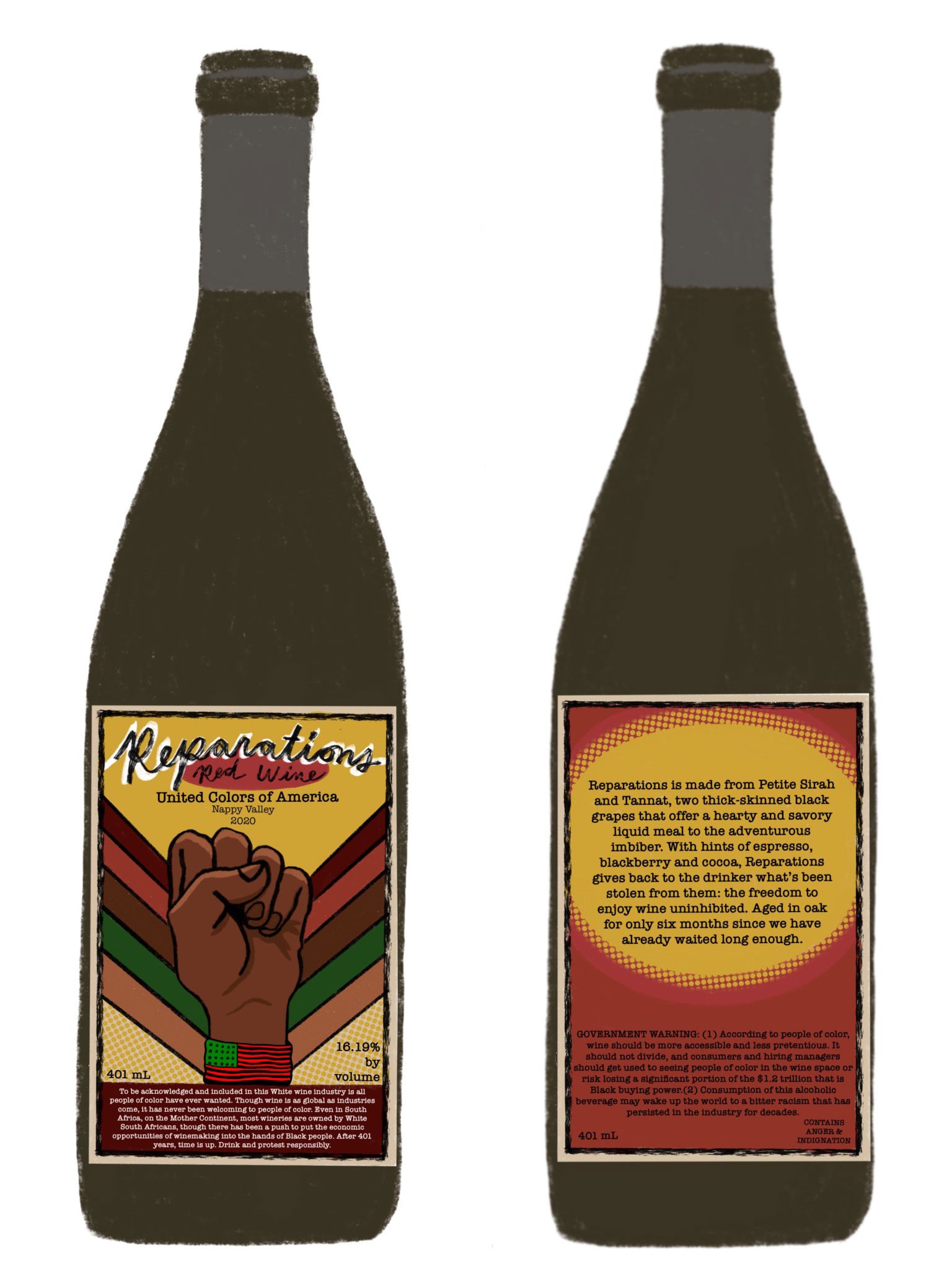 Reparations Wine Label Front and Back of Bottle image