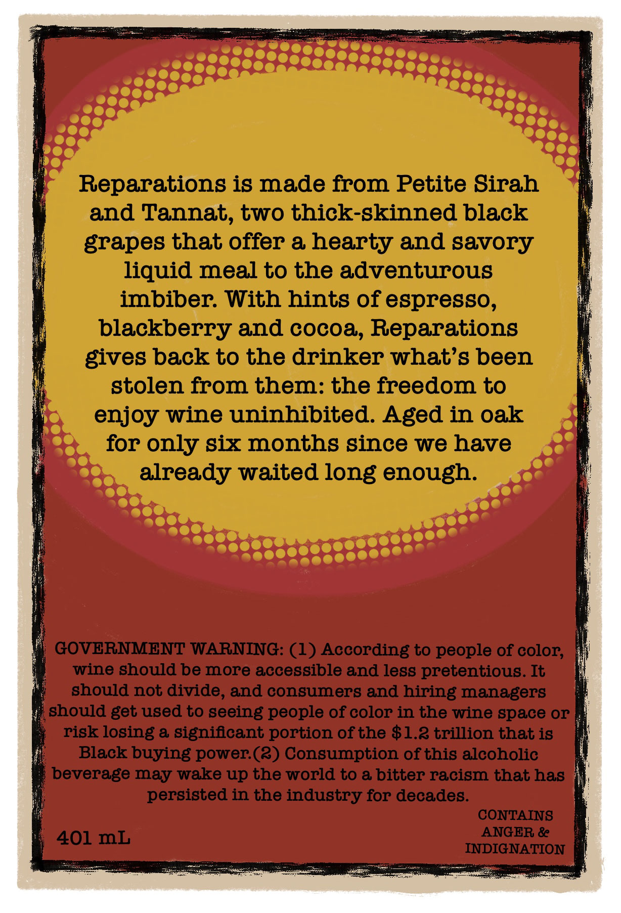 Back of Reparation Wine Label