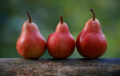 three red pears on a blurred green background