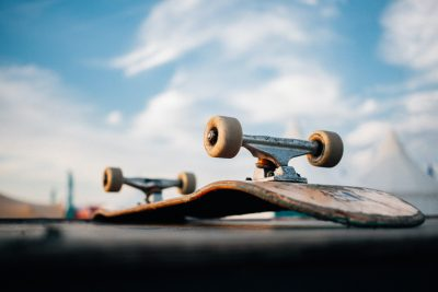 Skateboard upside down