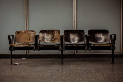 row of old wood chairs