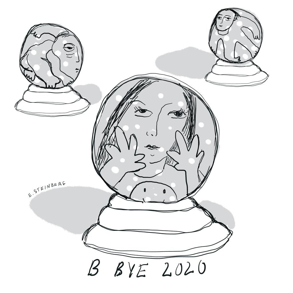 Bye-Bye 2020 people inside snowglobes