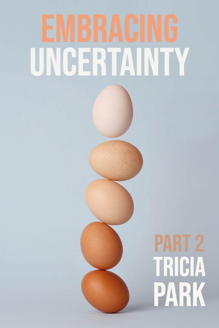 A tower of precariously balanced brown hen's eggs