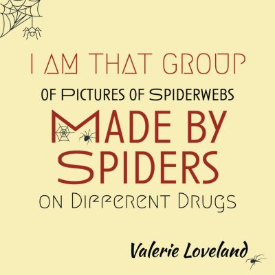 I AM THAT GROUP OF PICTURES OF SPIDERWEBS MADE BY SPIDERS ON DIFFERENT DRUGS by Valerie Loveland